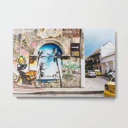 Cartagena, Colombia Street Art - Palm Trees Metal Print