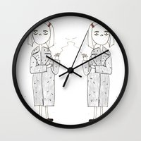 royal tenenbaums Wall Clocks featuring the royal tenenbaums - margot by sharon