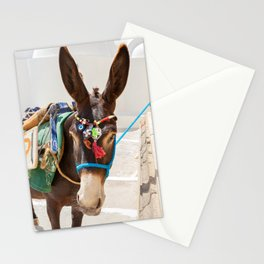"""Travel Photography """"donkey in a greek village on Santorini island"""" in Greece. Colorful fine art photo print.  Stationery Cards"""