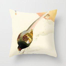 Pheasants in the snow  - Vintage Japanese Woodblock Print Art Throw Pillow