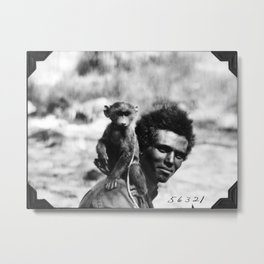Vintage Man With Monkey Metal Print