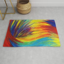 RAINBOW EXPLOSION - Vibrant Smile Happy Colorful Red Bright Blue Sunshine Yellow Abstract Painting  Rug