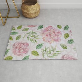 Summer blush pink raven green watercolor floral Rug