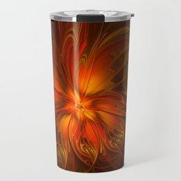 Burning, Abstract Fractal Art With Warmth Travel Mug