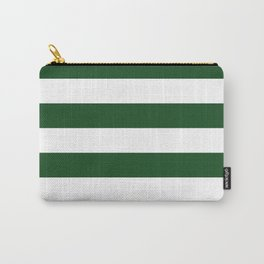 Jumbo Forest Green and White Rustic Horizontal Cabana Stripes Carry-All Pouch