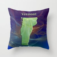 vermont Throw Pillows featuring Vermont Map by Roger Wedegis