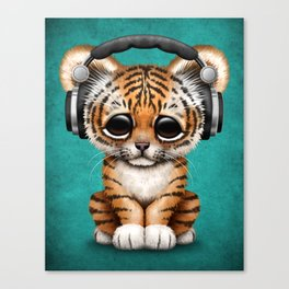 Cute Tiger Cub Dj Wearing Headphones on Blue Canvas Print