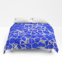Blue broken glass texture Comforters