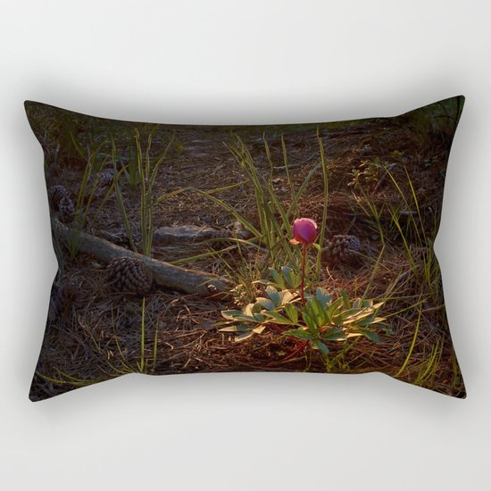 """""""Flower Into The Woods"""" Happy Peony looking for the last sun.. Rectangular Pillow"""