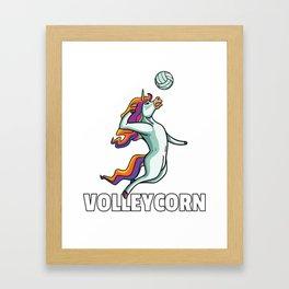 Volleyball Unicorn Volleyball player Framed Art Print