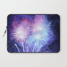 Blue and pink fireworks Laptop Sleeve