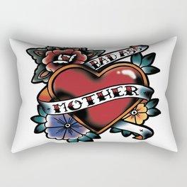 Bad Ass Mother Tattoo Flash Heart and Flowers Rectangular Pillow