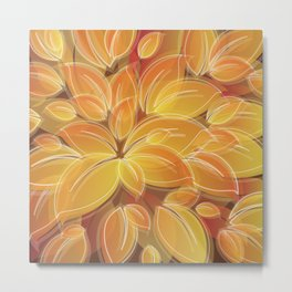 Warm Golden Autumn Flowers Metal Print