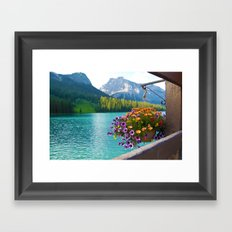Floral basket, mountain and blue lake Framed Art Print