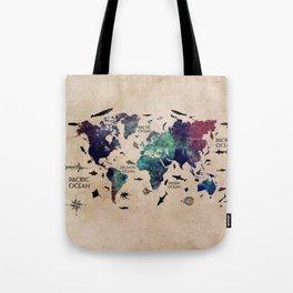 Oceans Life World Map #map #worldmap Tote Bag
