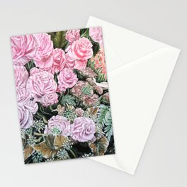A LIFE TIME COMMITMENT - Pink Rose And Anthurium - Original Fine Art Floral painting by HSIN LIN Stationery Cards