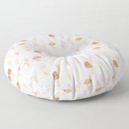Watercolor Ice Cream Cones Floor Pillow