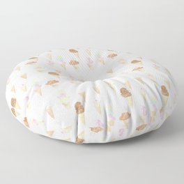 Watercolor Ice Cream Cones Floor Pillow