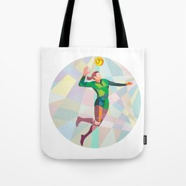 Volleyball Player Spiking Ball Jumping Low Polygon Tote Bag
