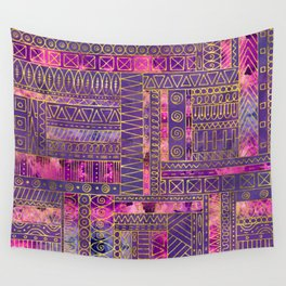 Tribal  Ethnic Boho Pattern gold and violet Wall Tapestry
