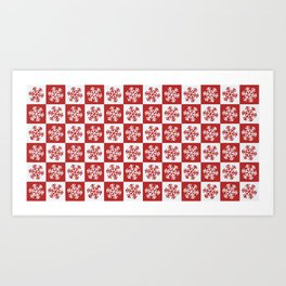 White and Red Snow Art Print