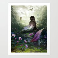 the little mermaid Art Prints featuring Little mermaid by milyKnight