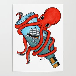Tattoo Octopus Bottle Poster