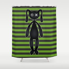 Goth Green and Black Bunny Shower Curtain