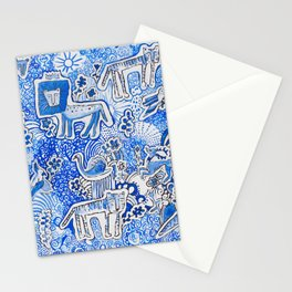 Delft Blue and White Pattern Painting with Lions and Tigers and Birds Stationery Cards