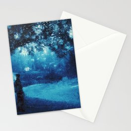 Hike And Found Paradies in Blue Morning Stationery Cards