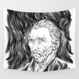 Van Gogh in black Wall Tapestry