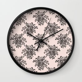 Block Bouquet Black Pink Wall Clock