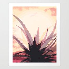Succulent in desert Art Print