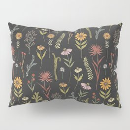 flat lay floral pattern on a dark background Pillow Sham