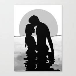 Lovers Black and White Canvas Print