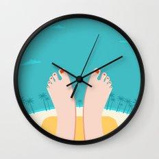 Feet on Beach Wall Clock