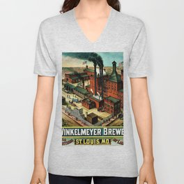 Vintage 1882 Julius Winkelmeyer Brewery St. Louis Lithograph Wall Art Advertisement Art Print Unisex V-Neck