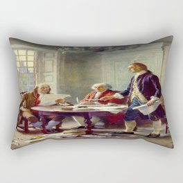 Jean-Leon Gerome Ferris's Writing the Declaration of Independence in 1776 Rectangular Pillow