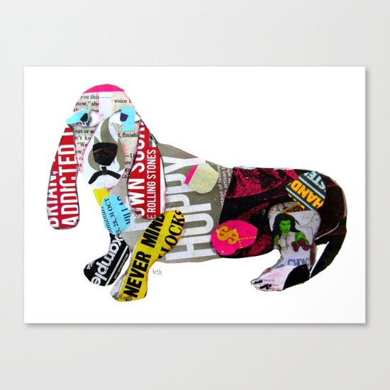 dachshund graffiti Canvas Print