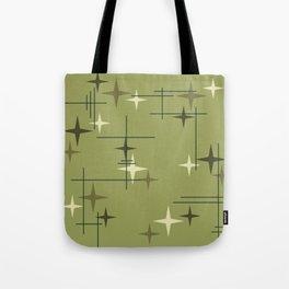 Mid Century Modern Stars Olive Green Tote Bag