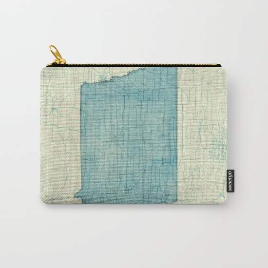 Iowa State Map Blue Vintage Carry-All Pouch