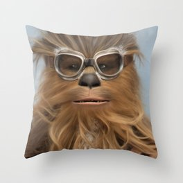 Goggle Wookie Throw Pillow