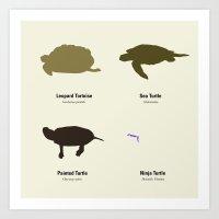 ninja turtle Art Prints featuring (Ninja) Turtle by Carrie Ambo