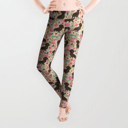 Doxie Florals - vintage doxie and florals gift gifts for dog lovers, dachshund decor, chocolate doxi Leggings