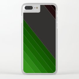 Black and green abstract striped pattern Clear iPhone Case