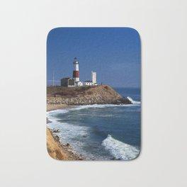 Crispy Morning at Montauk Point Lighthouse Long Island New York Bath Mat