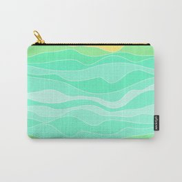 Ocean sunrise, waves in blue and green print  Carry-All Pouch