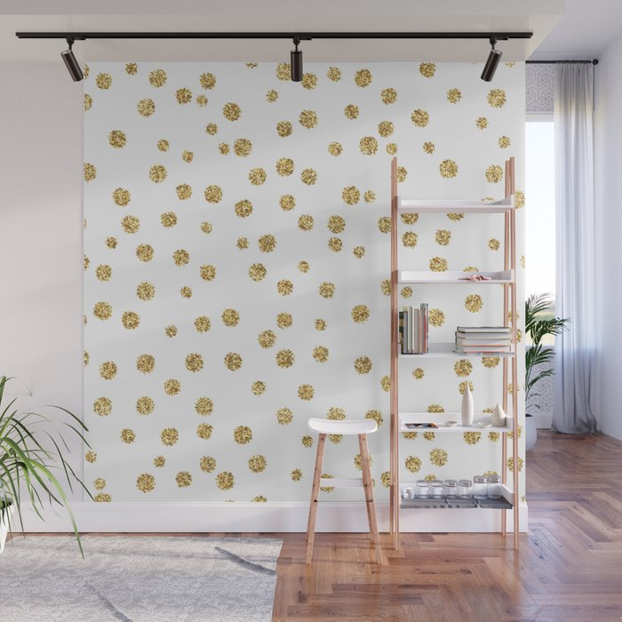Gold glitter confetti on white - Metal gold dots Wall Mural