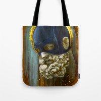 "hercules Tote Bags featuring ""Masked Hercules"" by Bryan Keith Lanier"