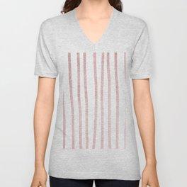 Simply Drawn Vertical Stripes in Rose Gold Sunset Unisex V-Neck